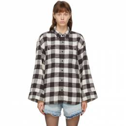 R13 Black and White Oversized Sleeve Shirt R13W8037-5BW
