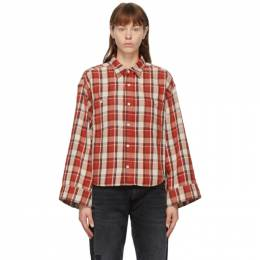 R13 Red Oversized Sleeve Cropped Shirt R13W8050-973