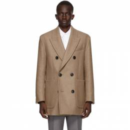 Ami Alexandre Mattiussi Beige Wool Double-Breasted Short Coat H20HM214.224