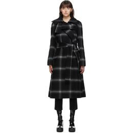 Stella McCartney Black and Grey Check Sophia Coat 602112SPB20
