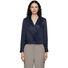 3.1 Phillip Lim Navy Satin Tuxedo Shirt H201-2237NVS