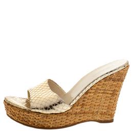 Prada Gold Snakeskin Embossed Leather Wedges Platform Slide Sandals Size 37 355356