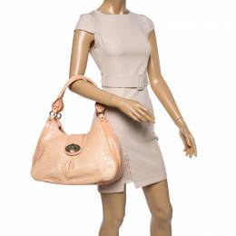 Aigner Peach Croc Embossed Leather Logo Turnlock Shoulder Bag 356768