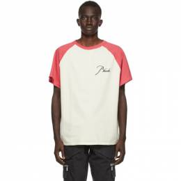 Rhude Off-White and Red Raglan Logo T-Shirt RHU08PF20030