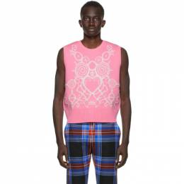 Charles Jeffrey Loverboy SSENSE Exclusive Pink and White Pict Vest CJLPS21PV