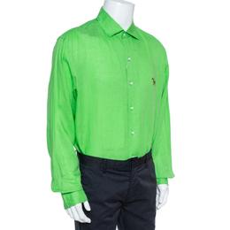 Ralph Lauren Green Linen Logo Embroidered Button Down Shirt XXL 356936
