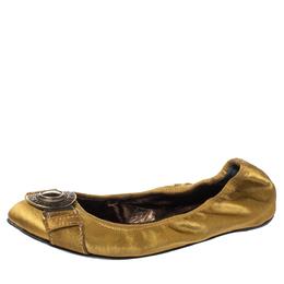 Burberry Metallic Gold Satin Leather Medallion Scrunch Ballet Flats Size 37 358225