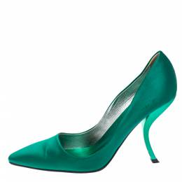 Roger Vivier Green Satin Curved Heel Pumps Size 39 356500