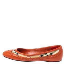 Burberry Orange Brogue Leather And Haymarket Check Canvas Tudor Ballet Flats Size 37 358218