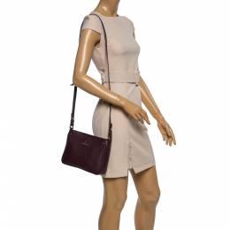 Aigner Burgundy Leather Zip Shoulder Bag 358048