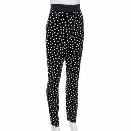 Dolce&Gabbana Monochrome Polka Dot Crepe Leggings M 356883