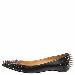 Christian Louboutin Black Leather Spike Goldoflat Ballet Flats Size 39.5 356765
