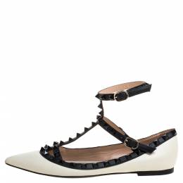 Valentino Cream/Black Leather Rockstud Ankle Strap Ballet Flats Size 36.5 357159