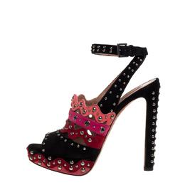 Alaia Multicolor Multicolor Suede Studded Platform Sandals Size 38.5 357880