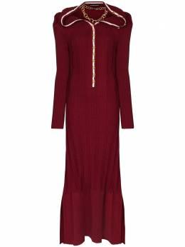 Y / Project декорированное платье в рубчик WMDRESS19S19