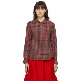 Comme Des Garcons Girl Red Tartan Round Collar Shirt NF-B005-051