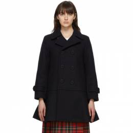 Comme Des Garcons Girl Navy Wool Double-Breasted Coat NF-C001-051