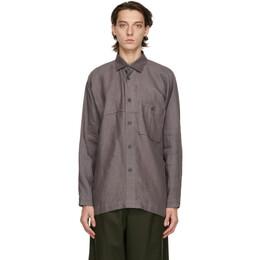 Issey Miyake Men Grey Linen Shirt ME08FJ015