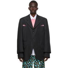 Comme Des Garcons Homme Plus Black Gabardine Cut-Out Blazer PF-J045-051