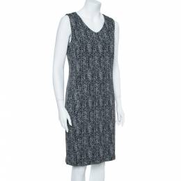 Armani Collezioni Black Cotton Herringbone Jacquard Sheath Sleeveless Dress L 357910