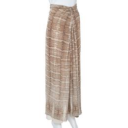Roberto Cavalli Brown Snakeskin Print Jersey Gathered Waist Maxi Skirt M 357926