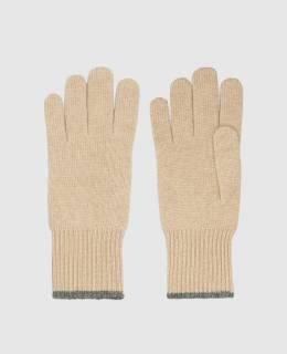 Бежевые перчатки из кашемира Brunello Cucinelli 2300006428746