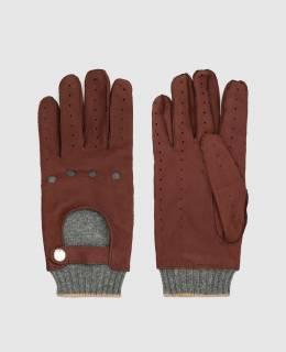 Бордовые кожаные перчатки Brunello Cucinelli 2300006428784