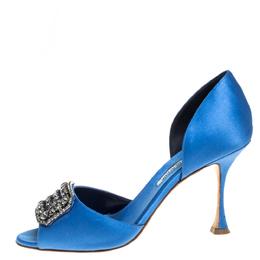 Manolo Blahnik Blue Satin Dorsay Pumps Size 38 359759