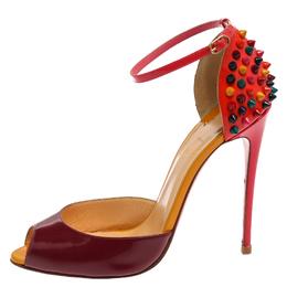 Christian Louboutin Purple/Orange Patent Leather Pina Spike Peep Toe Sandals Size 38 359450