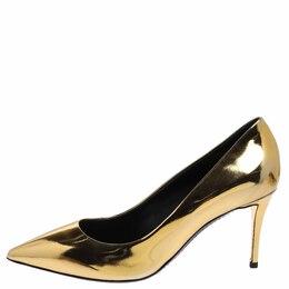 Giuseppe Zanotti Design Metallic Gold Leather Pointed Toe Pumps Size 38 359404