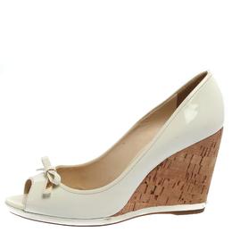 Prada Sports White Patent Leather Bow Peep Toe Cork Wedge Pumps Size 38 359329