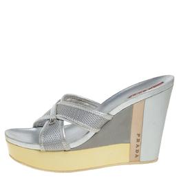 Prada Sports Silver Mesh And Leather Trim Cross Strap Wedge Platform Sandals Size 39 359665