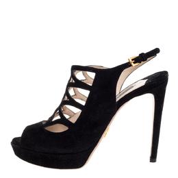 Prada Black Suede Lasercut Platform Sandals Size 36.5 355149