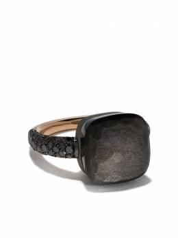 Pomellato кольцо Nudo из титана и золота с обсидианом и бриллиантами AB401BBT7OSS