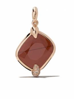 Pomellato 18kt rose gold Ritratto red jasper and diamond pendant MB713MBR7DI