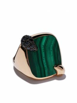 Pomellato 18kt rose gold Ritratto malachite and black diamond ring AB713MBB7M