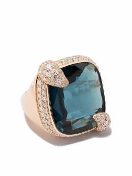 Pomellato золотое кольцо Ritratto с топазом и бриллиантом AB808MB7TL