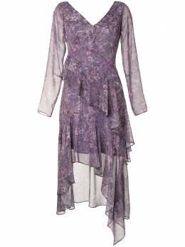 Marchesa Notte платье миди с цветочным принтом N42DMP2125