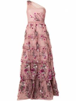 Marchesa Notte платье с цветочной вышивкой N41G1964