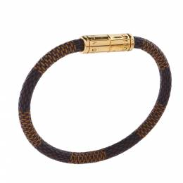 Louis Vuitton Keep It Damier Canvas Gold Tone Bracelet 359774