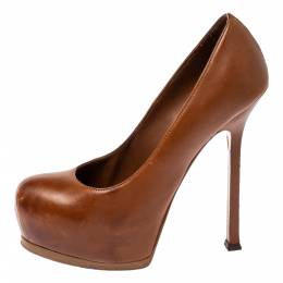 Yves Saint Laurent Brown Leather Tribtoo Platform Pumps Size 36 359303