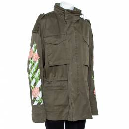 Off-White Olive Green Cotton Twill Tulip Embroidered Parka M 358382
