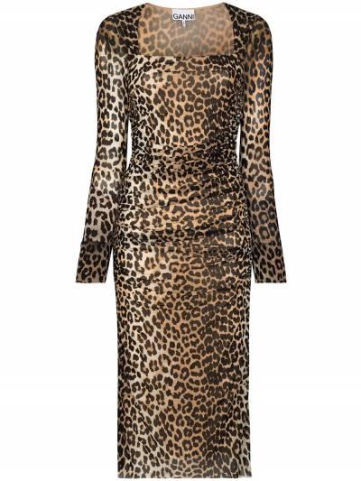 Ganni платье миди с леопардовым принтом T2718PrintedMesh - 1