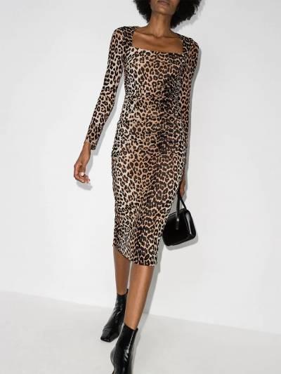 Ganni платье миди с леопардовым принтом T2718PrintedMesh - 2