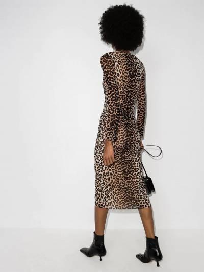 Ganni платье миди с леопардовым принтом T2718PrintedMesh - 3