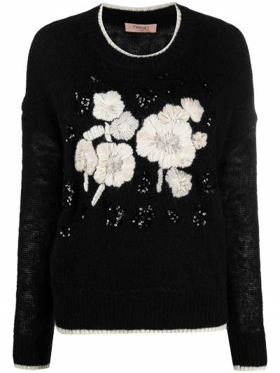 Twin-Set embroidered floral-detail jumper 202TP3430 - 1