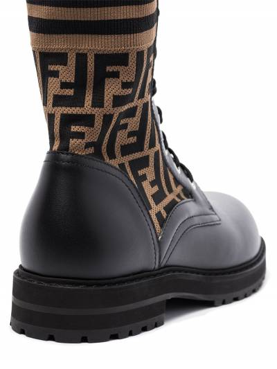 Fendi Black Mania logo combat boots 7U1398A8C7 - 2