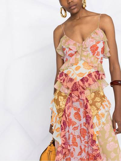 Zimmermann платье с цветочным принтом и оборками 9874DAND - 5
