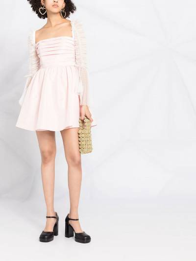 Self-Portrait ruched-sleeve flared dress RS21043 - 2