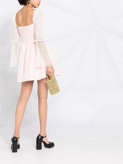 Self-Portrait ruched-sleeve flared dress RS21043 - 4